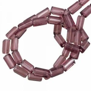 Facet kraal tube rechthoek 7x4mm purple brown