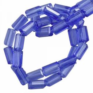 Facet kraal tube rechthoek 7x4mm royal blue