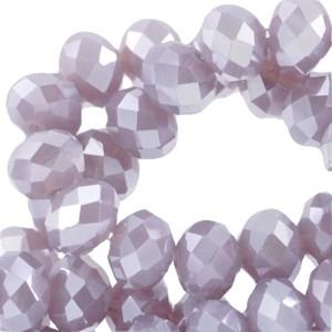 Facetkraal violet grey opaque diamond coating 6x4mm