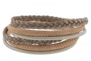 FRIS! Basic wrap leren armband vintage roze / zilver