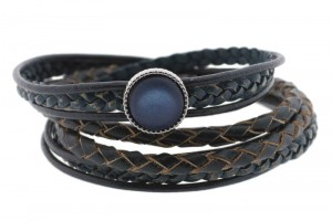 FRIS! Leren braided wrap armband Polaris blauw zilver