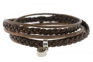 FRIS! Wikkelarmband braided donker bruin