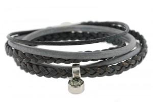 FRIS! Wikkelarmband braided donker grijs