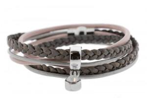 FRIS! Wikkelarmband braided grijs