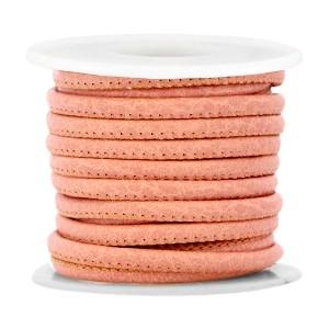 Gestikt imitatie leer 4x3mm antique coral pink per 20cm