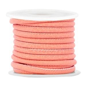 Gestikt imitatie leer 4x3mm dark coral pink per 20cm