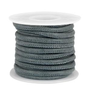 Gestikt imitatie leer 4x3mm grey blue per 20cm
