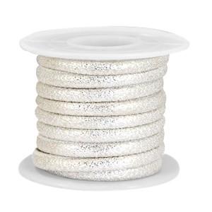 Gestikt imitatie leer 4x3mm lizard silver metallic per 20cm