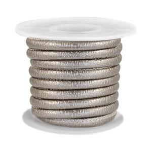 Gestikt imitatie leer 4x3mm sparkle grey champagne metallic per 20cm