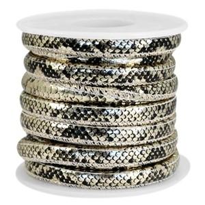 Gestikt imitatie leer 6x4mm snake black champagne gold metallic per 20cm