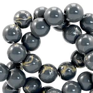Glaskraal drip-art 6mm donker blauw grijs