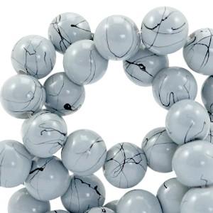 Glaskraal drip-art 6mm licht blauw grijs