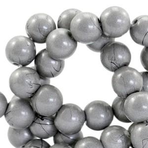 Glaskraal drip-art 6mm metallic grijs