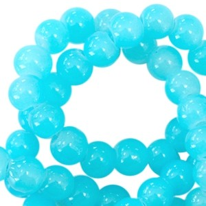 Glaskraal opal 6mm aqua blue