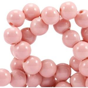 Glaskraal opaque 6mm pale blush pink