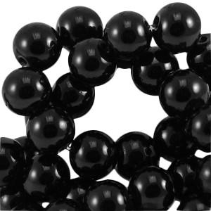 Glaskraal rond 6mm opaque black