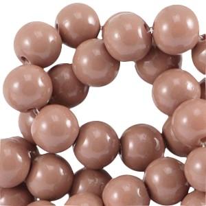 Glaskraal rond 6mm opaque dark nude brown
