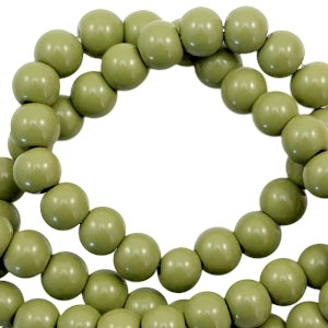Glaskraal rond 6mm opaque olive green