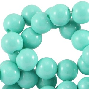 Glaskraal rond 6mm opaque turquoise green
