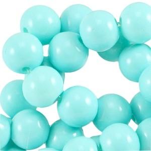 Glaskraal rond 8mm opaque aqua blue