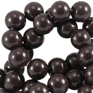 Glaskraal rond 8mm opaque dark chocolate brown