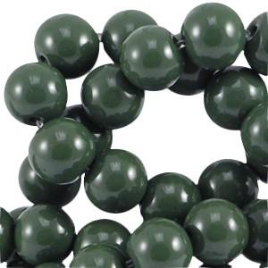Glaskraal rond 8mm opaque dark green