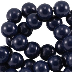 Glaskraal rond 8mm opaque dark navy blue