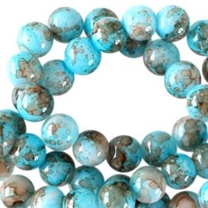 Glaskraal rond gemêleerd 6mm aqua blue