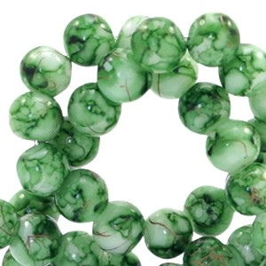 Glaskraal rond gêmeleerd 6mm old line classic green white