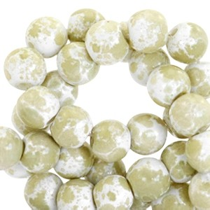 Glaskraal rond gemêleerd 6mm white olive green