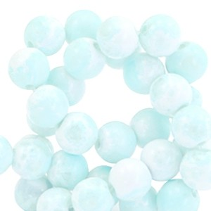 Glaskraal rond stone look 6mm white light blue