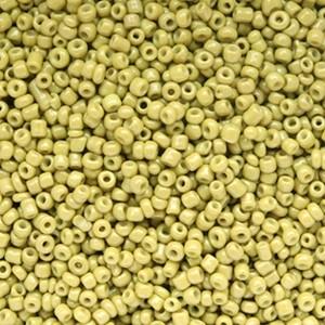 Glaskralen rocailles 12/0 2mm rond 8 gram olive green
