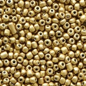 Glaskralen rocailles 12/0 2mm rond 8gram dark champagne metallic gold