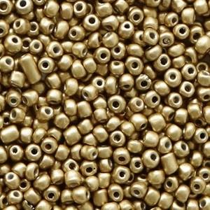 Glaskralen rocailles 12/0 2mm rond 8gram restrained gold