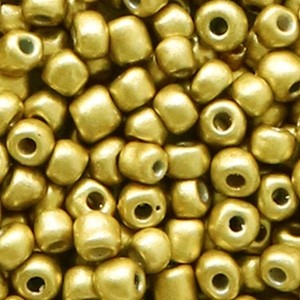 Glaskralen rocailles 6/0 4mm rond 8gram rich gold metallic
