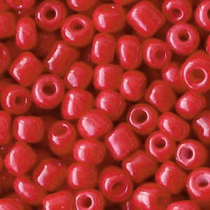 Glaskralen rocailles 6/0 4mm rond 8 gram crimson red