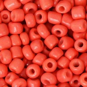 Glaskralen rocailles 6/0 4mm rond 8 gram neon coral orange