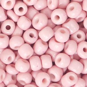 Glaskralen rocailles 6/0 4mm rond 8gram light pink