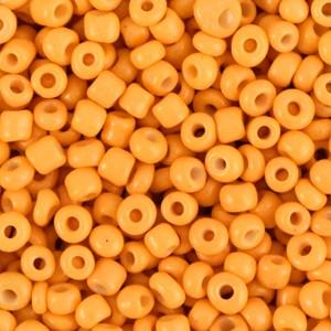 Glaskralen rocailles 8/0 3mm rond 8 gram amber orange