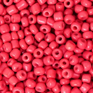 Glaskralen rocailles 8/0 3mm rond 8 gram azalea red
