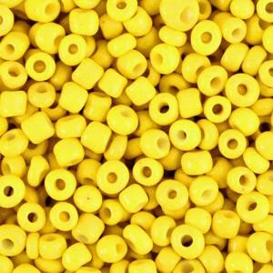 Glaskralen rocailles 8/0 3mm rond 8 gram cyber yellow