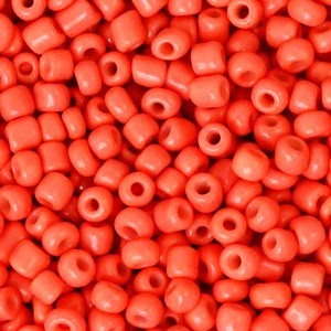 Glaskralen rocailles 8/0 3mm rond 8 gram neon coral orange