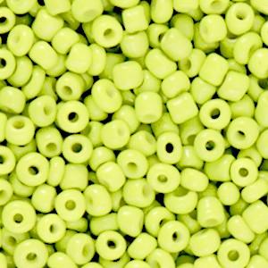 Glaskralen rocailles 8/0 3mm rond 8 gram neon yellow