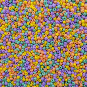 Glaskralen rocailles 8/0 3mm rond 8 gram mix rainbow