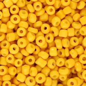 Glaskralen rocailles 8/0 3mm rond 8 gram warm yellow
