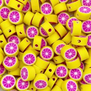Grapefruit kraal roze en geel 11mm (per stuk)