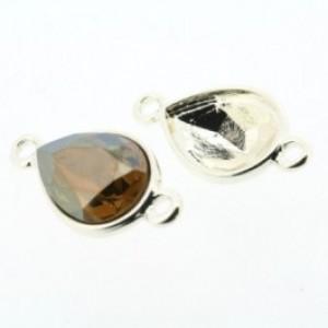 Setting 2 ogen zilver voor swarovski druppel 14x10mm