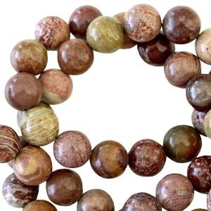 Half edelsteen kraal rond 4mm grain stone brown