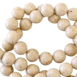 Half edelsteen kraal rond 4mm grit beige