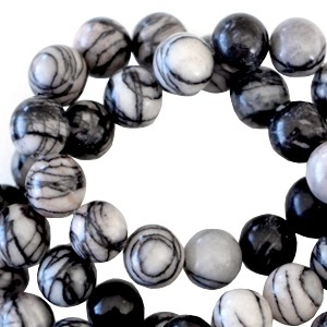 Half edelsteen kraal rond 4mm net stone black off white
